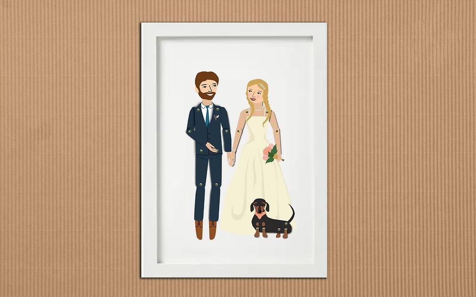 Paper Dolls Wedding Couple Dog Framed.jp
