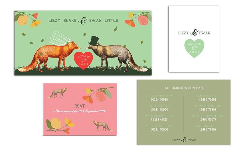 A Love Among Foxes Wedding Invitations I