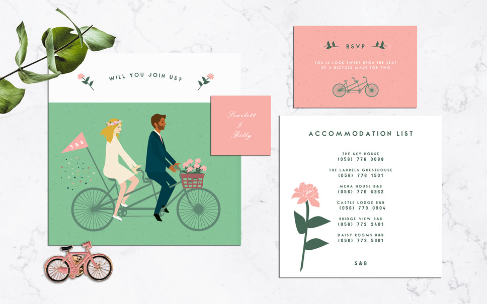 FEATURED WEDDING INVITATION: A BICYCLE MADE FOR TWO