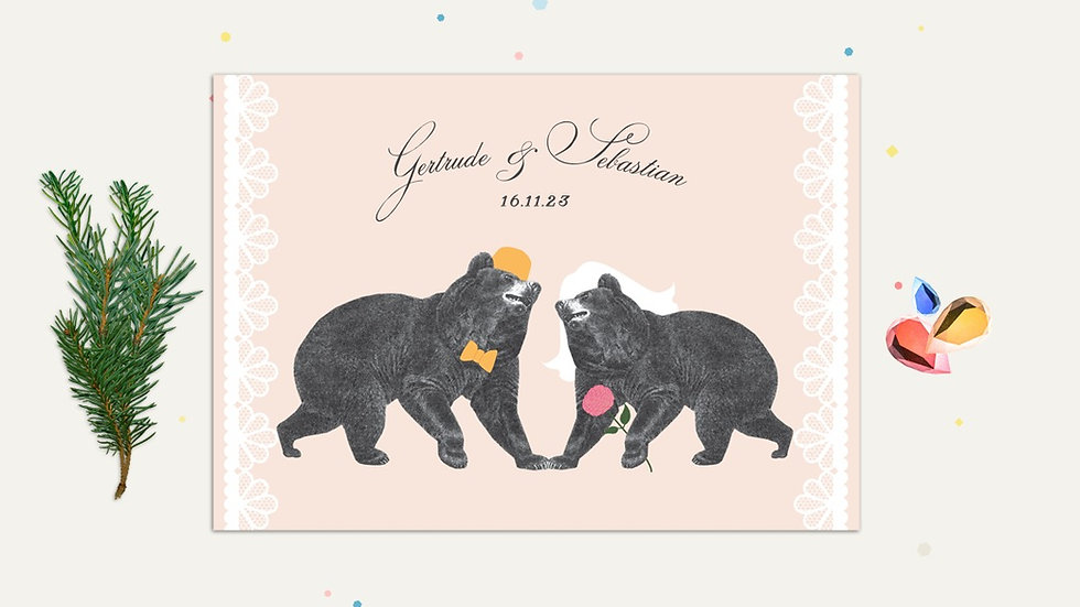 Bear woodland themed wedding invitations