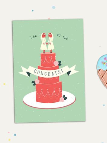 Two Foxy Brides Wedding Greeting Card