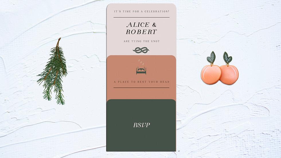 Honey and Peach Wedding Invitation