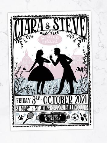 Ciara and Steve Custom Wedding Invitation