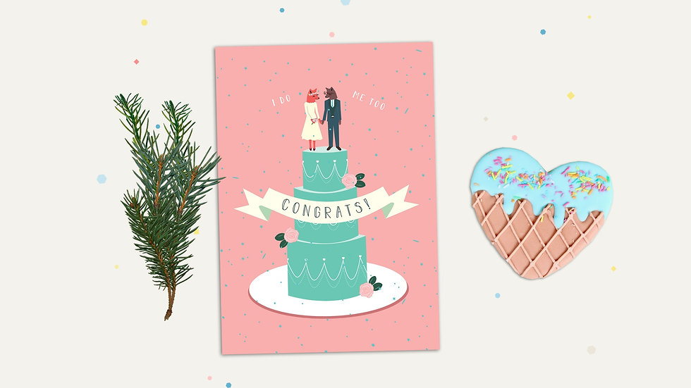 Wedding Greeting Card with two foxes on wedding cake