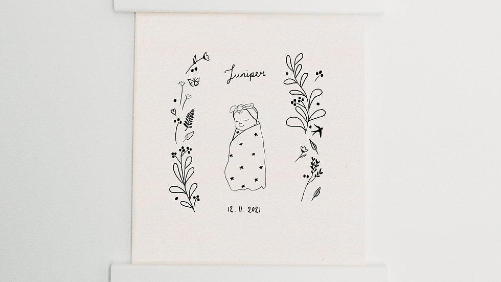 Custom baby illustration for new baby