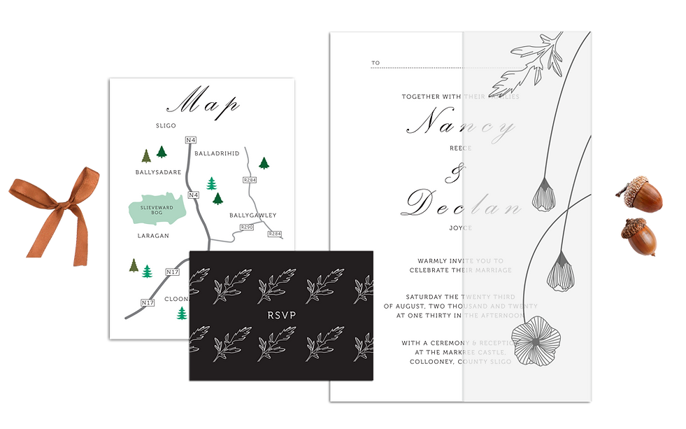 Poppy Black & White Wedding Invitations Vellum Wrap Around Floral