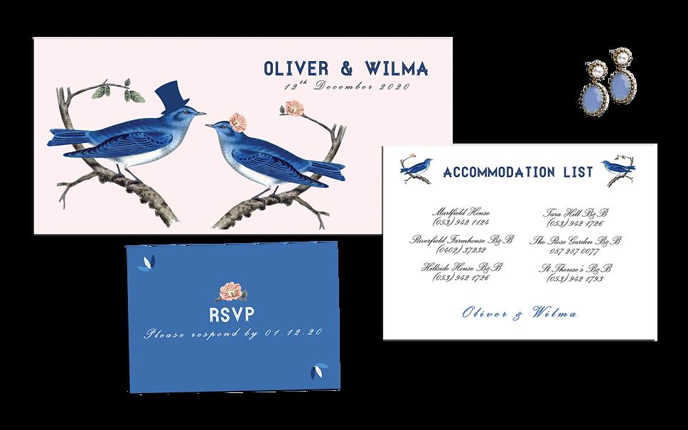 Blue Jay Way Wedding Invitation Birds Vi