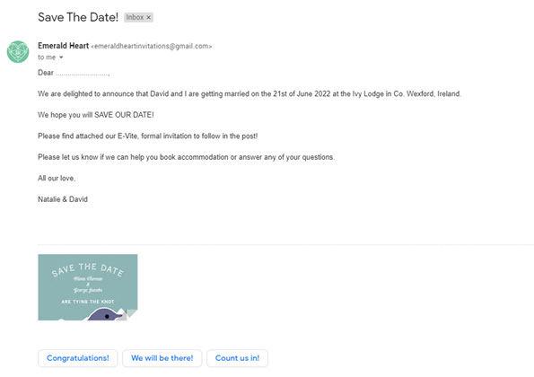 Save The Date Emerald Heart Invitations.