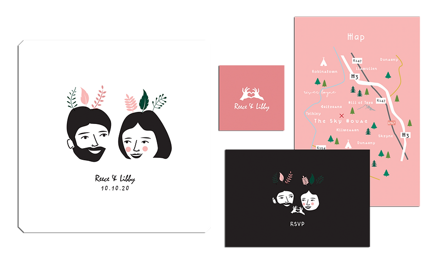 Custom Illustustrated Couple Black and White Wedding Invitation Package