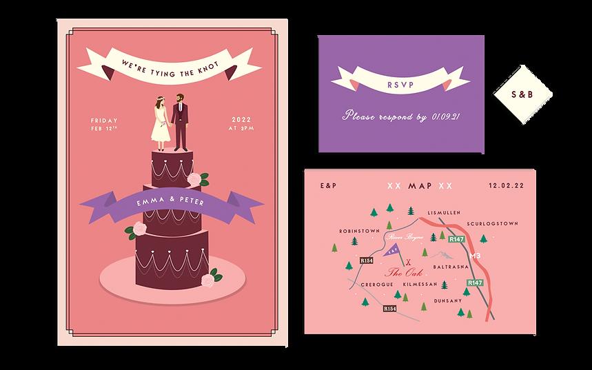 The Wedding Cake Invitation Emerald Hear