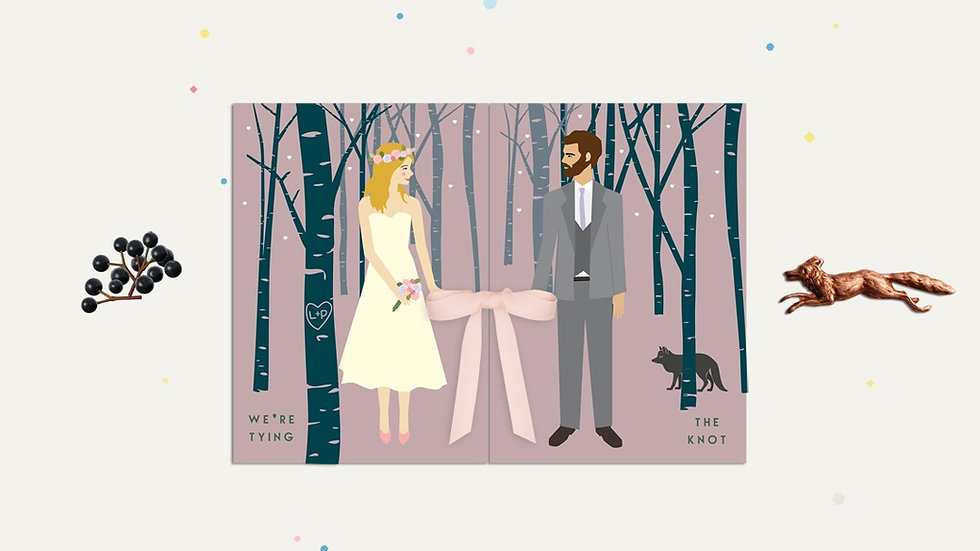 Purple woodland wedding stationery