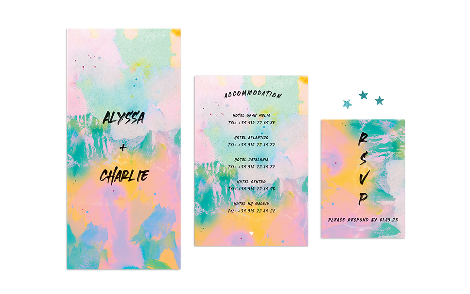 Rainbow Mountain Wedding Invitation Irel