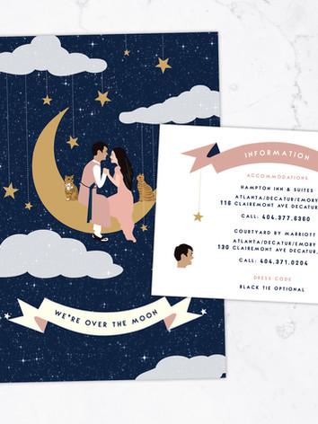 Katie & Daeyoung Swinging On The Moon Celestial Wedding Invitation