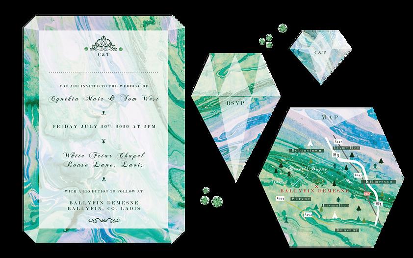 Jewel Gem Cut Elegant Fancy Wedding Invitations Ornate Emerald Heart Ireland