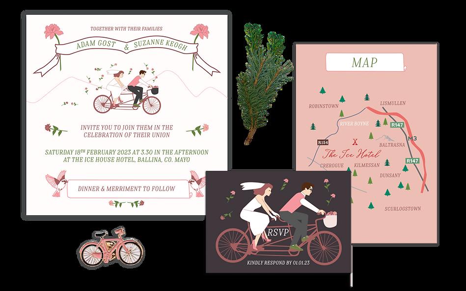 Tandem Bicycle Wedding Invitation Full P