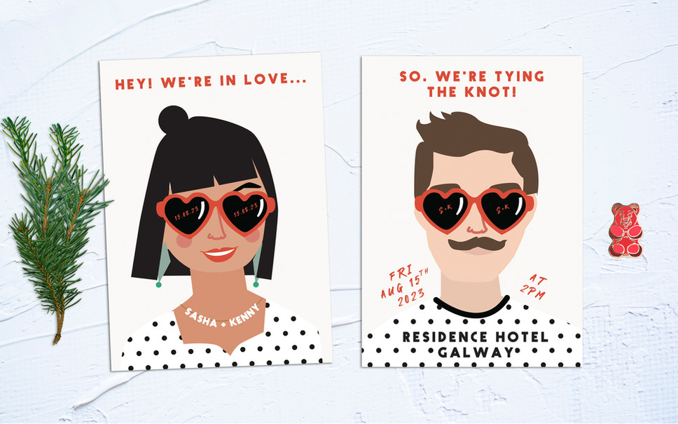 FEATURED WEDDING INVITATION: HEY! WE'RE IN LOVE!