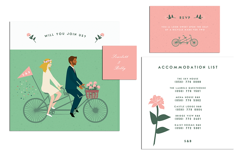 A Bicycle Made For Two Wedding Invitatio