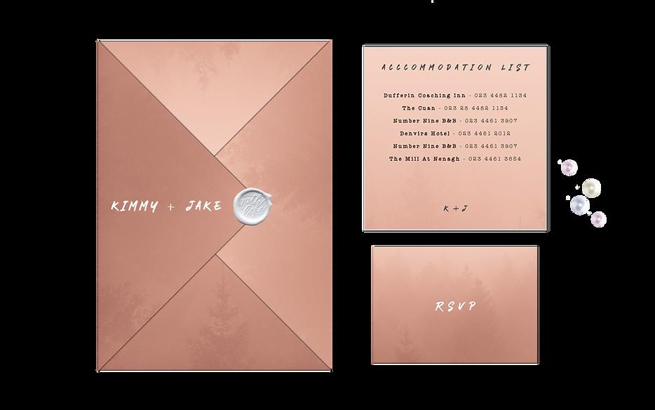 Peach Dusty Pink Origami Folded Wedding Invitations Ireland