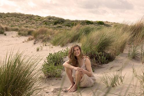 Ruffle Dress in sand