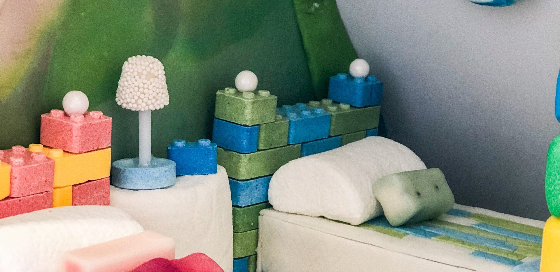 Lego Beds, Gum Floor & Quilts, Marshmallow Pillows with Hi-Chew Accent Pillows