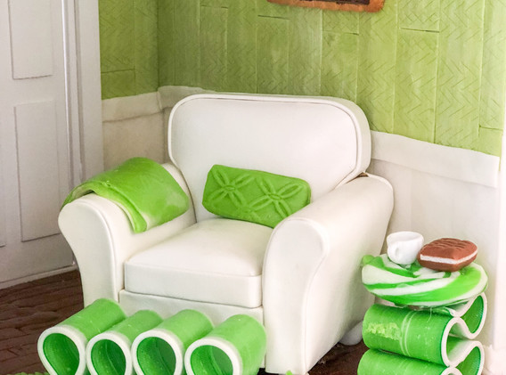Candy Ribbon Ottoman & Side Table