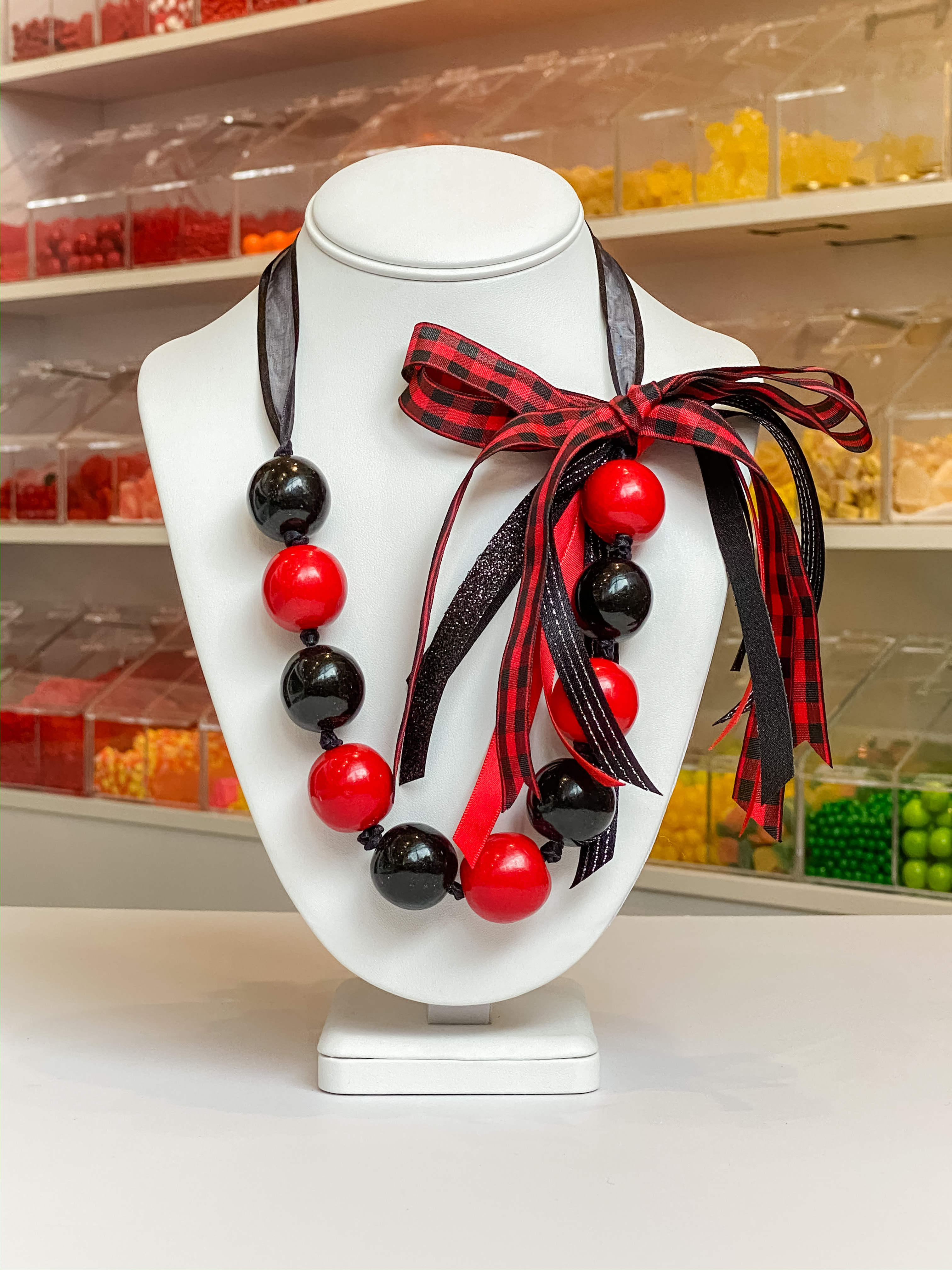 Red/Black/Flannel Ribbon