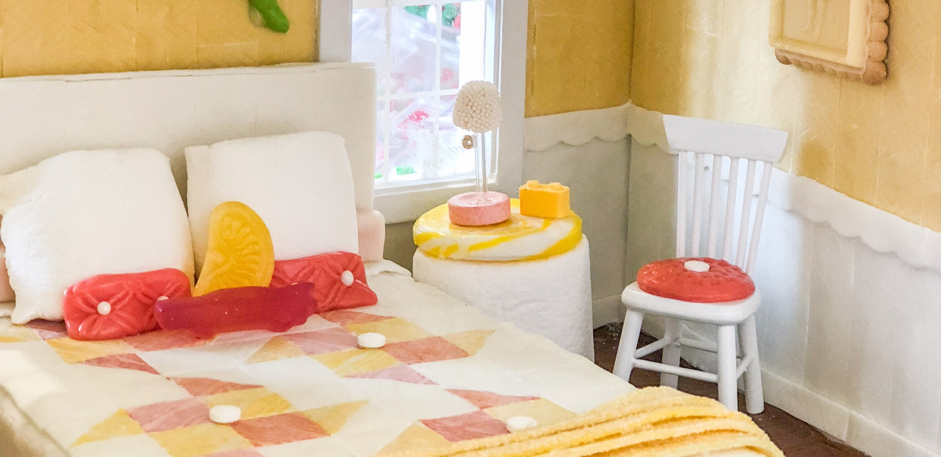 Gum Quilt, Cookie Art, Marshmallow Pillows and Side Table