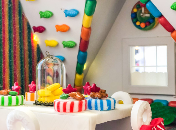 Peppermint Chairs, Gum Table, Jawbreaker Chandelier & Garland