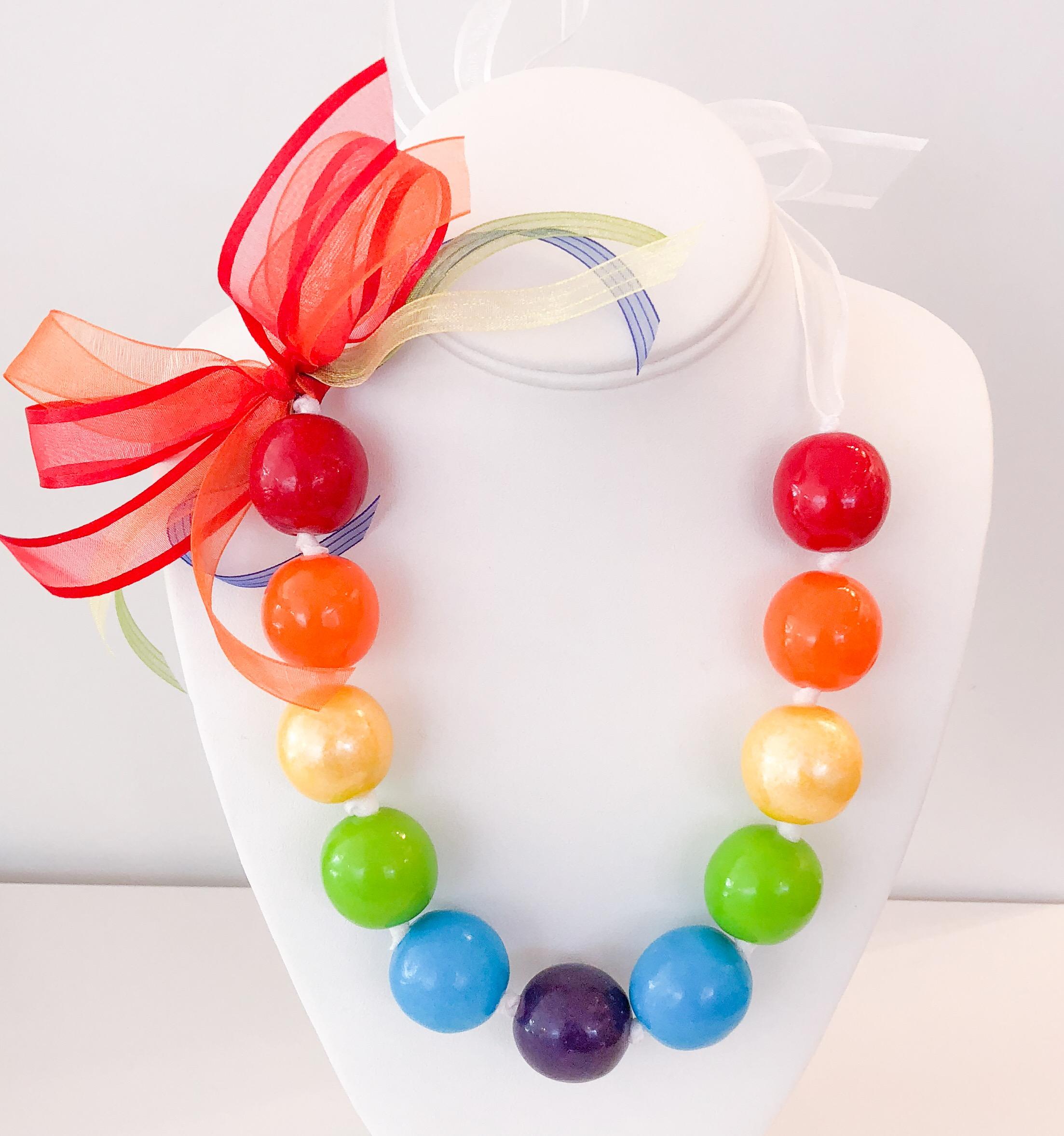 Rainbow w/white ribbon