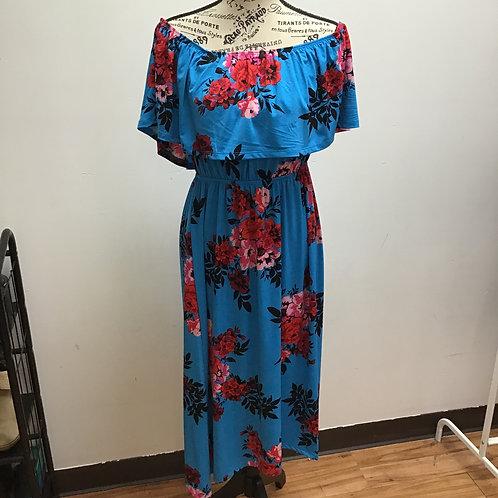 Du jour blue rose print dress