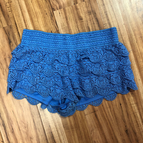 Rewind bright blue crochet shorts
