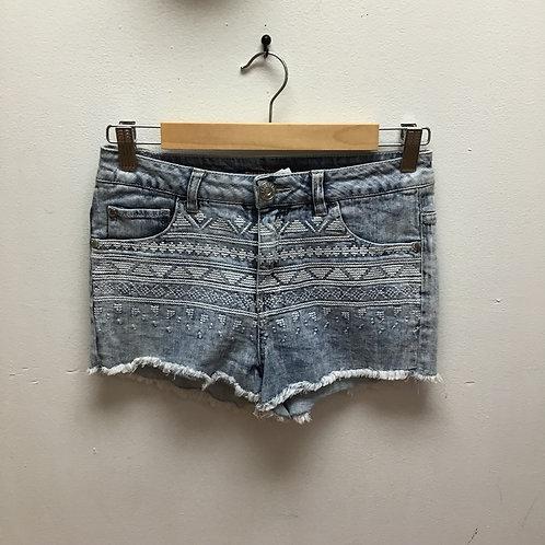 Celebrity pink acid wash embroidered shorts