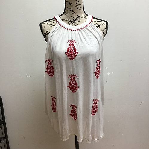 NWT Loft red & white floral patterned top