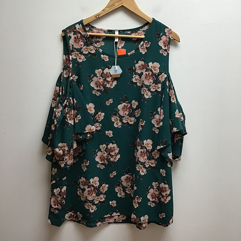SOLD--NWT Pink blush green floral top