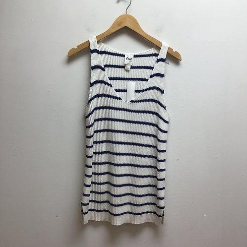 Led navy & white striped knit tank