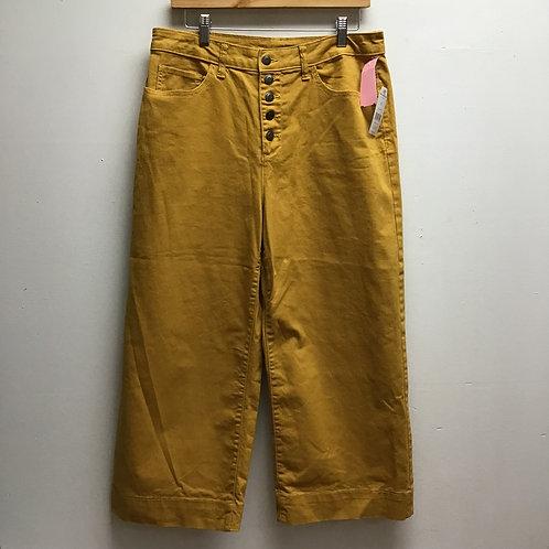 Time & Tru Mustard Wide Leg Crop Pants Sz 12