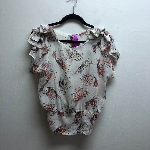 Charlotte Russe white & pink floral print top