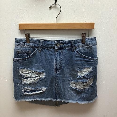 Vanilla star distressed denim skirt