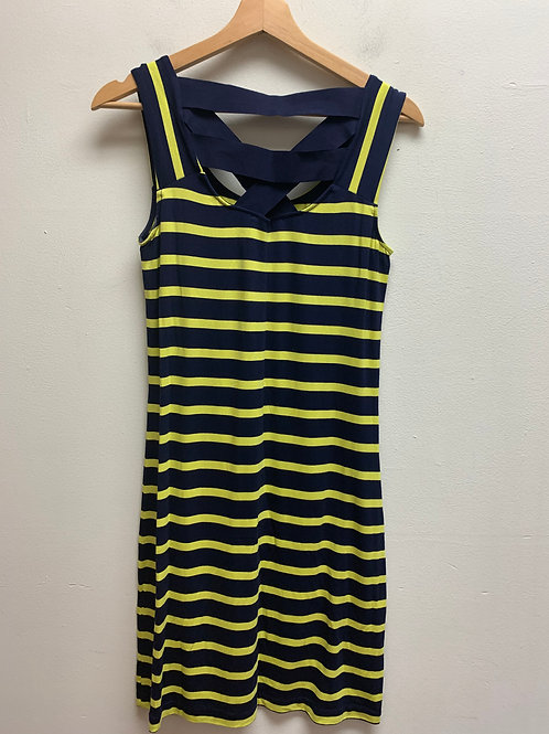 Striped tank dress w/cross straps on back