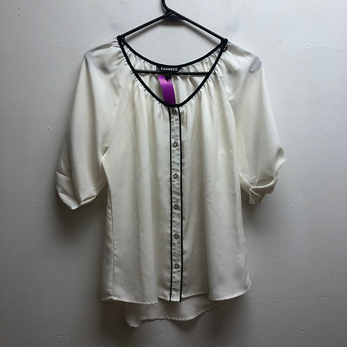 Express white/cream top with black lining