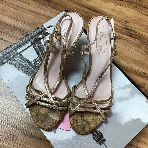 Talbots Metallic Kitten  Heel Sandals Sz 7
