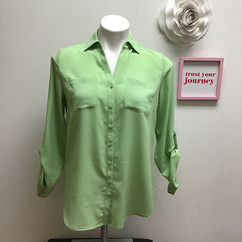Talbots Green 3/4 Sleeve Button Up-Size  4P