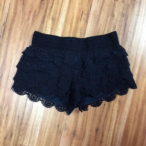 Rewind navy crochet shorts