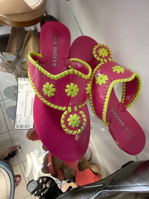 pink and green thong flip flop