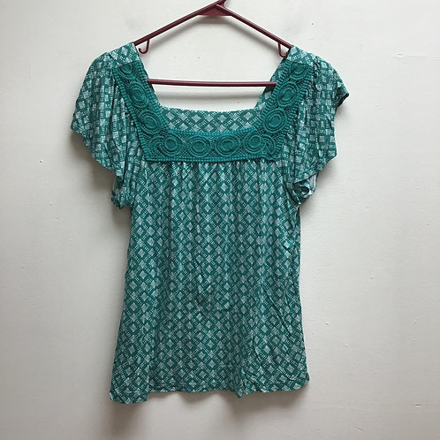 Old navy green & white top