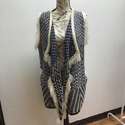 World market navy & white sweater vest