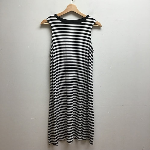 Time & tru black & white striped dress