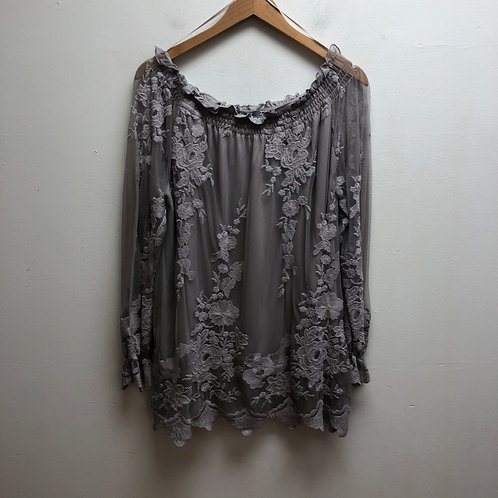 Marled gray lace top