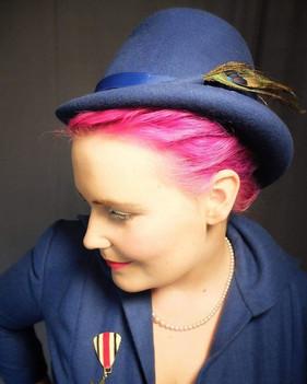 MARLENE BLUE FELT TOP HAT