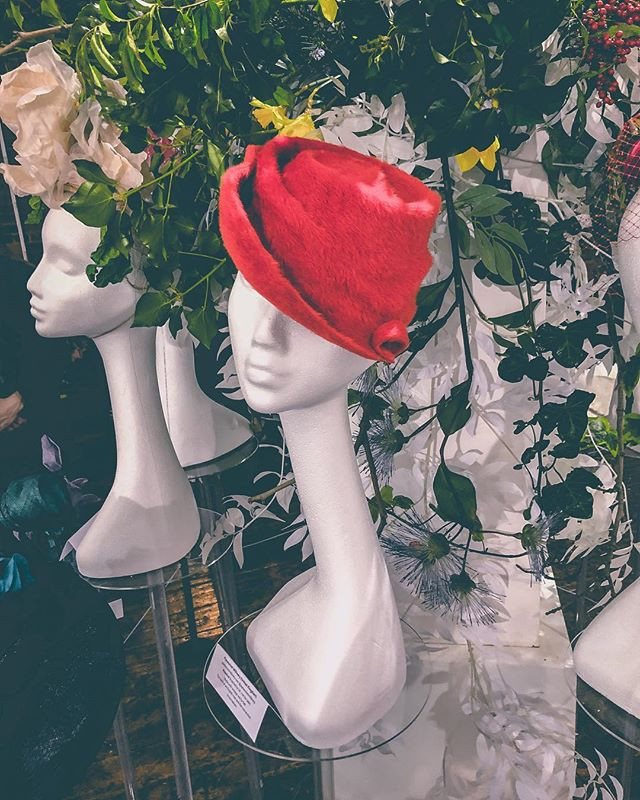 PYEWACKET MILLINERY RED ROSEBUD AT THE WORLD GARDEN EXHIBITION
